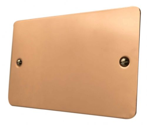 G&H FBC32 Flat Plate Bright Copper 2 Gang Double Blank Plate